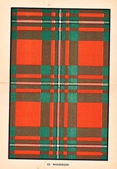 Chromolithograph - Chromolithograph - About 115 Years Old - The Scottish Clans & Their Tartans - Clan Information on Back - Published by W. & A.K. Johnston