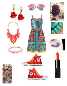 """Feeling bright"" by itzmorganr ❤ liked on Polyvore featuring NARS Cosmetics, Adrianna Papell, Converse, Rifle Paper Co, Kate Spade, Oscar de la Renta and Alexis Bittar"