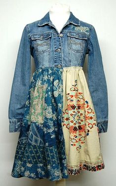 This long hippie jacket is constructed of recycled denim and cotton fabrics in beautiful boho designs. Adorned on front and back with tattered patches. A fun, unique piece to add to your bohemian wardrobe. Womens size Small Approximte Measurements (See diagram in bottom picture for