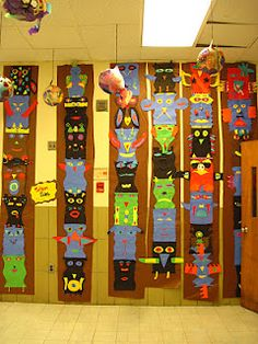 MATH LINE SYMMETRY~  Students make colorful totem pole displays after practicing this math concept.