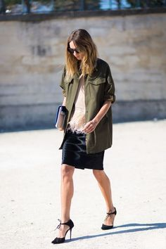 Military style green olive street style inspiration02