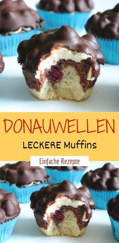 Donauwellen LECKERE Muffins Ingredients for 8 servings 8 pcs. Cling film for the dough 60 g butter (room temperature) 5 packs vanilla sugar 50 g sugar 2 pcs. Eggs 100 g flour 1 tl baking powder 1 el milk 1 tl cocoa (real) Cookie Recipes, Snack Recipes, Healthy Recipes, Pumpkin Spice Cupcakes, Fall Desserts, Cacao, Cake Cookies, Eat Cake, Sweet Tooth