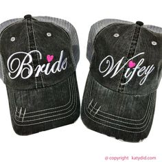 """Are you a """"Wifey"""" or know of a soon to be """"Bride""""? Grab these cute women's trucker caps for a discounted price for a limited time. Mesh back with velcro tab. No returns or exchanges on daily deal items."""
