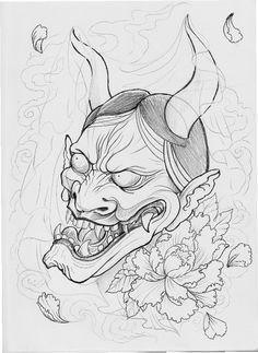 Hannya peonia paeonia tattoo sketch