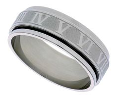 Surgical Steel 6mm Roman Numerals Spinner Ring Wedding Band, size 7
