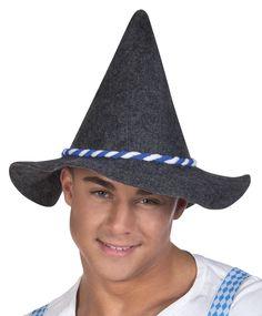Oktoberfest-huopahattu. Harmaa, sini-valkealla koristenauhalla somistettu huopamainen hattu sopii hienosti olutjuhlan tunnelmaan.
