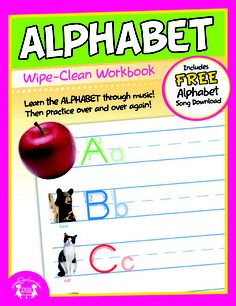 "Alphabet Wipe Clean Workbook    NEW Wipe-Clean books provide hours of learning and practice as skills can be drilled over and over again. Use dry erase markers for practice then a cloth to wipe the pages clean! Comes with a FREE song download to compliment the subject of the book.    11-Full Color Pages    Dimensions: 8"" x 10.375""  $3.99"