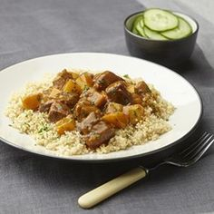 In this riff on North African tradition, couscous is served as the base for a beef and rutabaga stew that's made with an intoxicating blend of cinnamon, turmeric, coriander and cayenne (optional if you don't like it spicy). Healthy Soup Recipes, Steak Recipes, Cooking Recipes, Diabetic Recipes, Cooking Ideas, Healthy Tips, Healthy Meals, Food Ideas, 400 Calorie Dinner