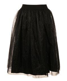 Look at this #zulilyfind! Black Glitter-Accent Tulle Skirt - Plus #zulilyfinds