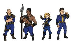 Fallout protagonists(from left) Vault dweller, Choosen one, Lone wanderer, Sole survivor