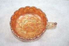Carnival Glass Nappy Bowl Dish Floral Flowers Lustrous Vintage  $65.80