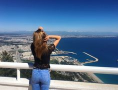 Sea mountains city height beauty girl view nature air love