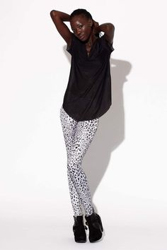 Snow Leopard Silver Leggings | Black Milk Clothing