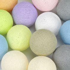 Cotton Ball Lights Pasztell 35 gömbös | Gömblámpa | Classhome Cable And Cotton, Cotton Ball Lights, Easter Eggs