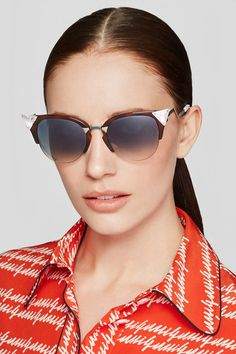 Fendi | Crystal-embellished cat-eye acetate and gold-tone sunglasses | NET-A-PORTER.COM