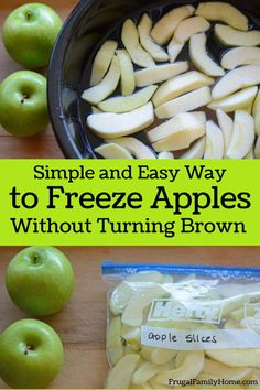 When I can get apples at a great price I stock up and add them to the freezer. It's really easy to do and if you know my secret you can keep your apples from turning brown in the freezer. These freezer apples are great in all kinds of apple recipes. Freezing Apples, Freezing Vegetables, Canned Apples, Fresh Apples, Apple Recipes Easy, Fall Recipes, Cooking Apple Recipes, Freezer Cooking, Freezer Meals