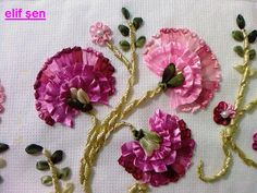 , new carnation ribbon towel. , new carnation ribbon towel Ribbon Embroidery Tutorial, Rose Embroidery, Silk Ribbon Embroidery, Hand Embroidery Designs, Embroidery Patterns, Band Kunst, Lace Beadwork, Ribbon Art, Handmade Flowers