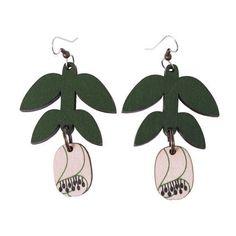 Leinikki-korvakorut / vihreä-vaaleanpunainen