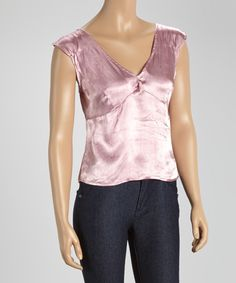 Look at this Lavender Satin Cap-Sleeve Top on #zulily today!