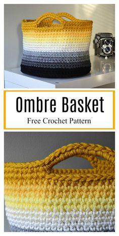 Ombre Basket Free Crochet Pattern #freecrochetpatterns #baskets