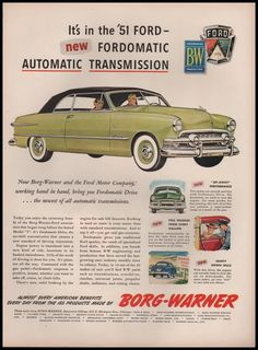 Paper Gallery Collectibles - Original 1951 Ford Borg-Warner Automatic Transmission Car Auto Parts  Advertisement, $14.50 (http://www.papergalleryprints.mybigcommerce.com/original-1951-ford-borg-warner-automatic-transmission-car-auto-parts-advertisement/)