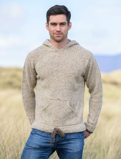 Irish sweater with hood, sweater with hood, mens wool hoodie Rugged Style, Frugal Male Fashion, Mens Fashion, Fashion Suits, Fashion Trends, Mens Trends, Denim And Supply, Men Sweater, Hoodie