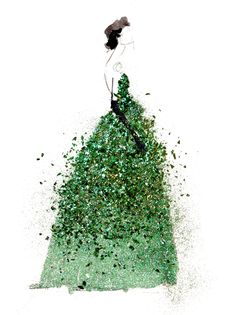 Because we are all about the sparkle and glitz here (I mean, come on, it's Perfect Sparkle) this illustration is just perfect for us! Also emerald is the color of the year! So much perfection in one image! image: Paper Fashion