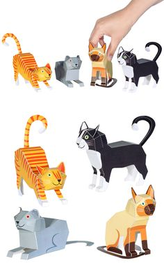 Cats Paper Toys - DIY Paper Craft Kit - 3D Paper Animals - 4 Pets by pukaca on Etsy