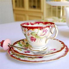 I love China tea cups....I especially like them when they have a cup, saucer and matching dessert plate (for a warm, yummy scone to go with the tea)!