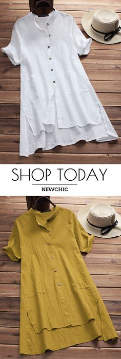 UP TO 50% OFF! Plus Size Vintage Pure Color Irregular Hem Short Sleeve Women Blouses.Size US 8 To US 20 For Options.Worldwide Shipping.#newchic#Tops#blouse#summer fashion#2018