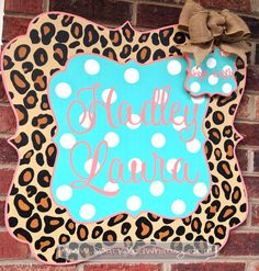 Personalized Leopard Print Baby Announcement by SparkledWhimsy