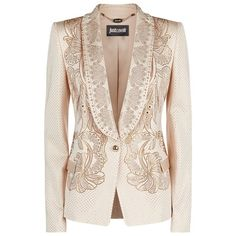 Just Cavalli Crystal Embellished Tuxedo Jacket ($1,590) ❤ liked on Polyvore featuring outerwear, jackets, blazers, blazer, casacos, coats & jackets, floral print jacket, tux jacket, pink tuxedo jacket and tailored blazer