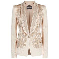 Just Cavalli Crystal Embellished Tuxedo Jacket (12.950 NOK) ❤ liked on Polyvore featuring outerwear, jackets, blazers, blazer, coats, coats & jackets, dinner jacket, pink blazer jacket, lapel jacket and pink jacket