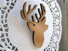 Oh Deer Wooden Brooch