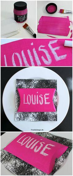 bordkort som lille æske med pink tavlemaling og navn med kridt - måske skal der balloner eller panodiler i æsken. (Førstehjælp til dagen derpå).