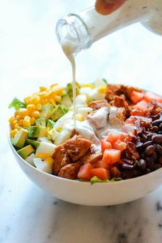 Bookmark this easy + healthy recipe to make a bowl of BBQ Chicken Cobb Salad.