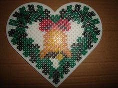 Christmas bell heart ornament hama perler by zabicra