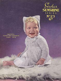http://www.theretroknittingcompany.co.uk vintage baby lace knit pattern bonnet cardigan, coat jacket