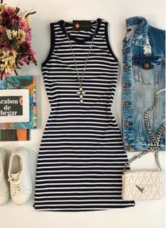 Pin by mai-anh hoang on mon style Cute Dresses, Casual Dresses, Casual Outfits, Cute Outfits, Girl Fashion, Fashion Looks, Fashion Outfits, Skirt Outfits, Striped Dress