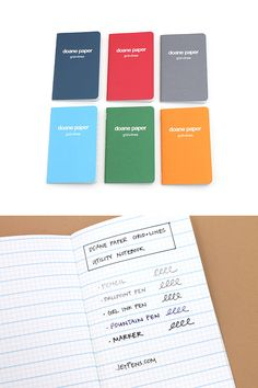 Made in the USA, the sturdy, rustic Doane Paper notebooks and notepads are perfect for jotting down your thoughts, ideas, and doodles. Saddle Stitch Binding, Stationery Companies, Gel Ink Pens, Jet Pens, Line Patterns, Made In America, Ballpoint Pen, Edc, Notebooks