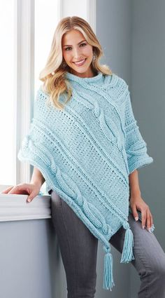Mary Maxim - Cabled Panels Poncho - Small, Medium - New Ite Poncho Knitting Patterns, Knitted Poncho, Crochet Patterns, Knitting Ideas, Diy Crochet, Crochet Shawl, Clothes Crafts, Crochet Clothes, Crochet Flowers