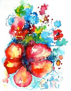 Floral Abstract Watercolor - Original Abstract Watercolor Painting. $35.00, via Etsy.