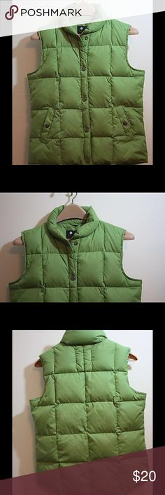 """Athletech Lime Green puffer snap front. Size S/C Pre-Owned Athletech Lime Green puffer vest in excellent condition. Box stitching, puff collar, snap pockets, snap front. Size S/C, chest flat 19"""", Length 24"""", Shoulder to Shoulder 15"""". No defects, spotless, ready to wear, see photos. Athletech Jackets & Coats Puffers"""