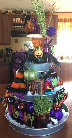 Halloween galvanized tiered tray! Great way to decorate for all seasons!