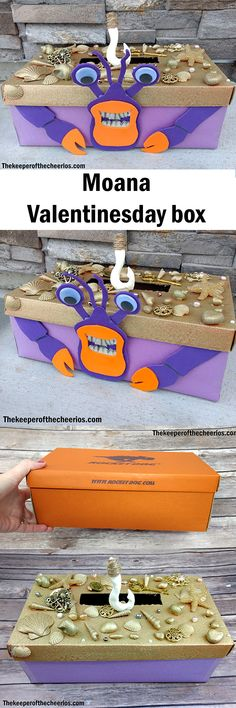 Moana Tamatoa Crab Valentines Day Box Materials: Box (shoe box works best) Shells Construction paper (purple) Orange and Purple craft foam Glue (I used a hot glue gun and hot glue but other glues will work as well) Tape Scissors Wiggle eyes White or cream Construction paper or craft felt Model Magic Gold spray paint Hemp or Jute twine Other misc. items to decorate his shell Directions: Start by cutting a hole in the top of your box for your Valentines to go in Glue on shells and other misc…