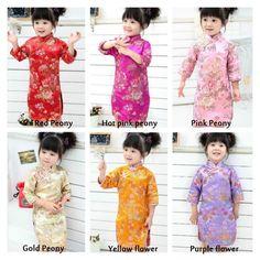 Children Chinese traditional cheongsams qipao dress Chinese new year baby  brocade silk holiday birthday dress wedding flower girl dress ae43425386c3