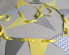 Yellow and Gray Baby shower decorations - Yellow and Gray Polka dot and Chevron paper Garland / Baby Shower Decor/ Birthday Decor