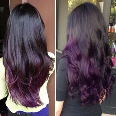 Red Purple Ombre Hair Color Idea for dark hair,new choice of dye purple hair, dark purple hair Dark Purple Hair, Hair Color Purple, Dark Hair, Purple Ombre, Dark Ombre, Violet Hair, Purple Wig, Purple Dip Dye, Violet Ombre