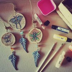 Wonderful pendants with natural wood hand-painted! #etsyshop #EtsyGifts