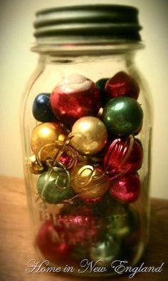 Mason Jars and Ornaments! Good use for all of my wedding centerpieces ;]
